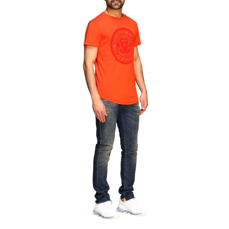 T-shirt Balmain: Balmain short-sleeved T-shirt with flocked crest red 2
