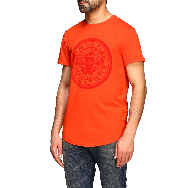 T-shirt Balmain: Balmain short-sleeved T-shirt with flocked crest red 4