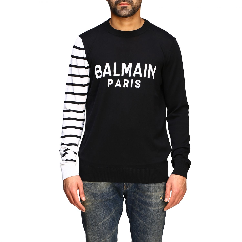 Sweater Balmain: Balmain crew neck sweater with logo and striped sleeve black 1