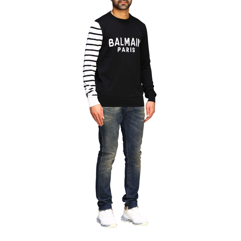 Sweater Balmain: Balmain crew neck sweater with logo and striped sleeve black 2