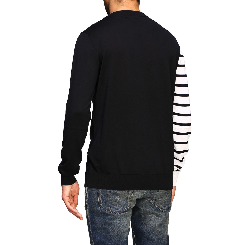 Sweater Balmain: Balmain crew neck sweater with logo and striped sleeve black 3