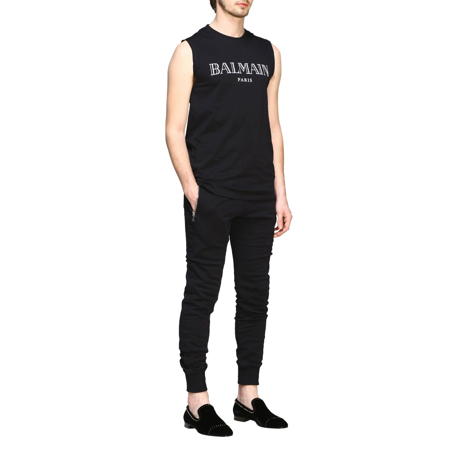 Pants Balmain: Balmain jogging trousers with zip black 2