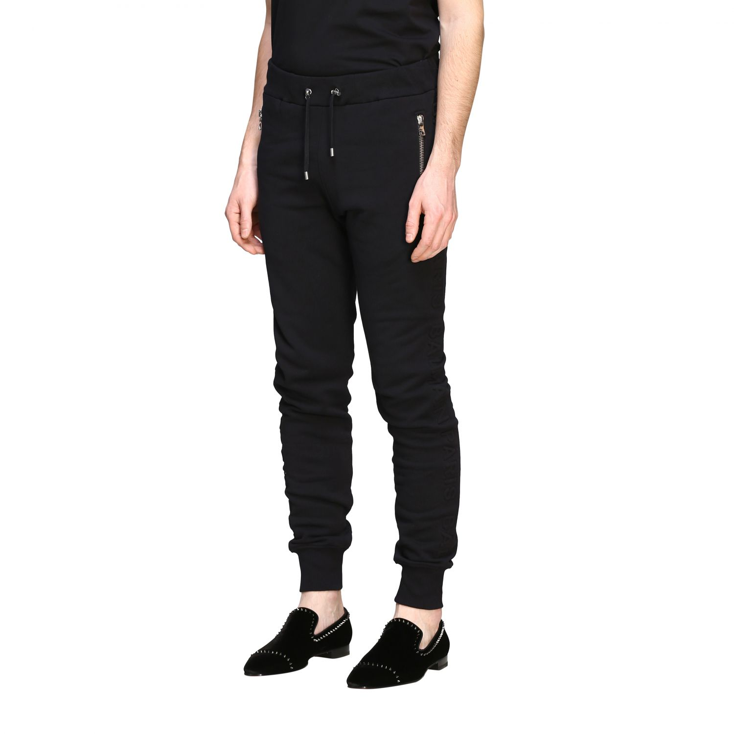 Pants Balmain: Balmain jogging trousers with zip black 4