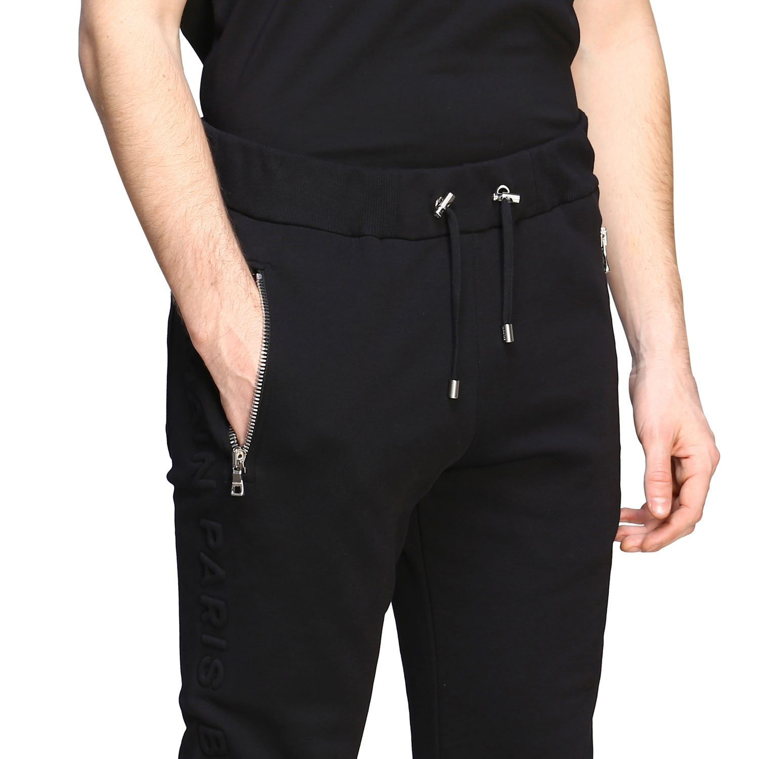 Pants Balmain: Balmain jogging trousers with zip black 5