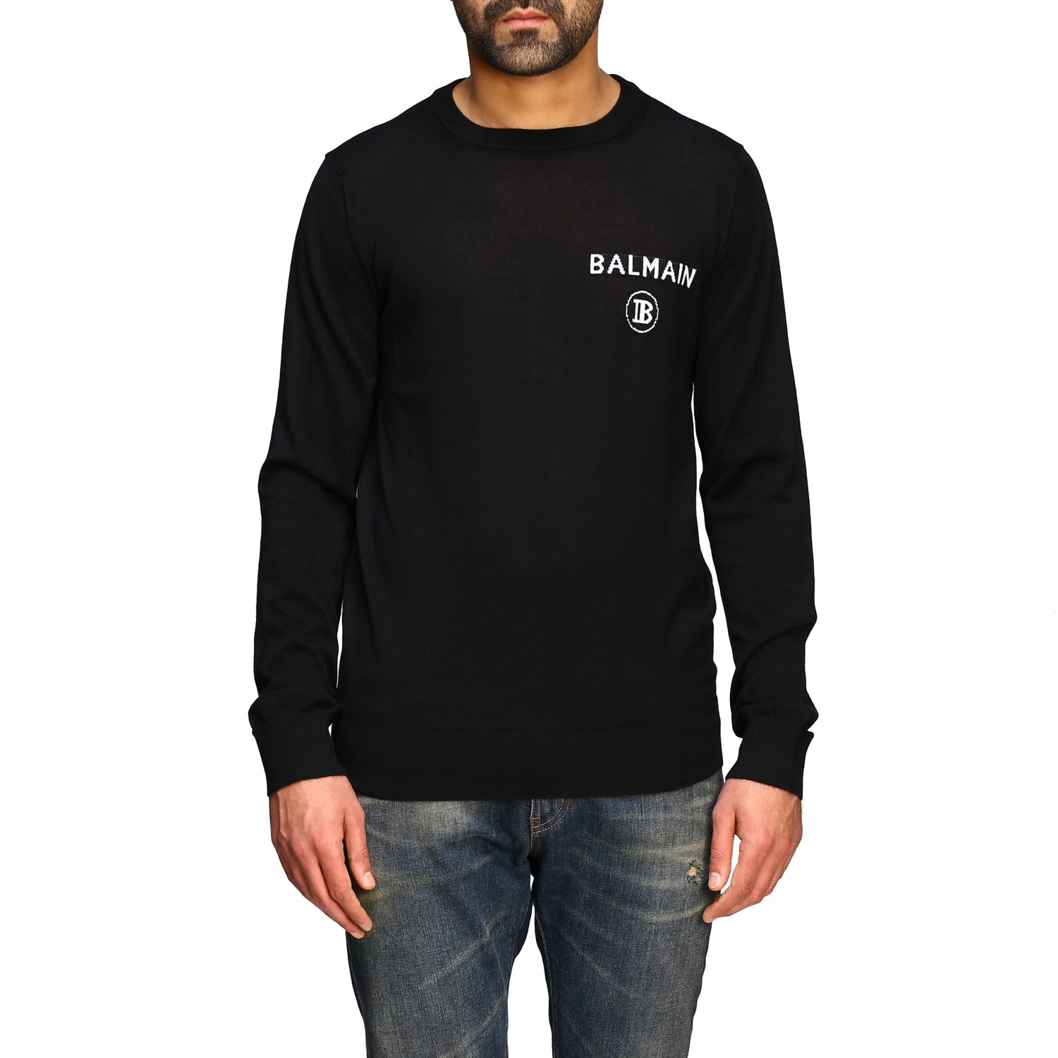 Sweater Balmain: Balmain cashmere crewneck sweater with logo black 1
