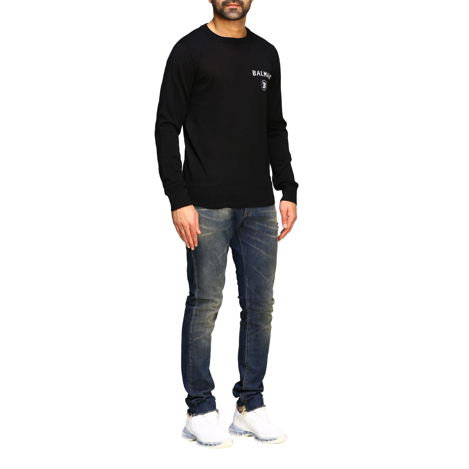 Sweater Balmain: Balmain cashmere crewneck sweater with logo black 2