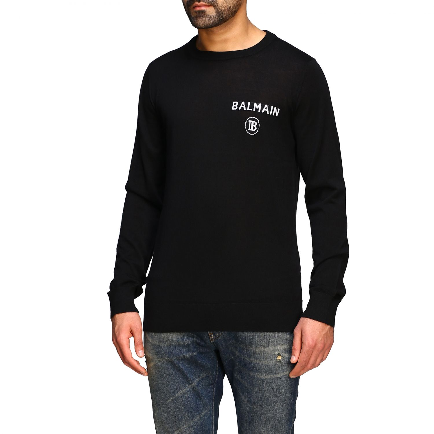 Sweater Balmain: Balmain cashmere crewneck sweater with logo black 4