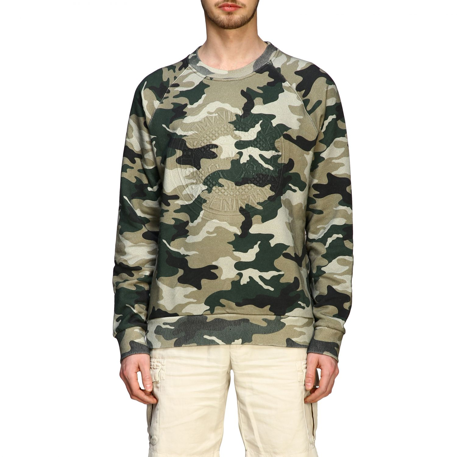 Sweatshirt Balmain: Balmain camouflage sweatshirt with flocked logo and zip military 1