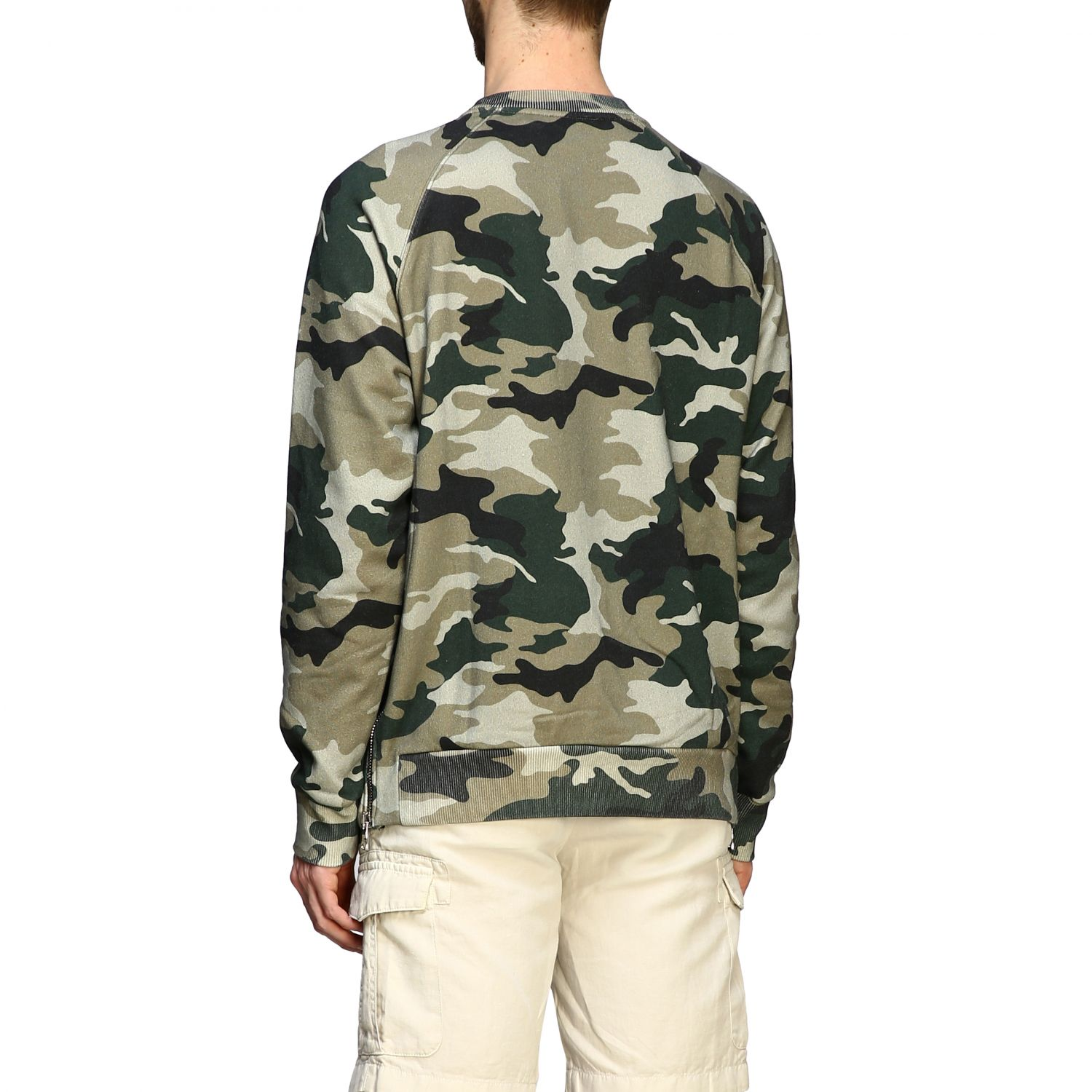 Sweatshirt Balmain: Balmain camouflage sweatshirt with flocked logo and zip military 3