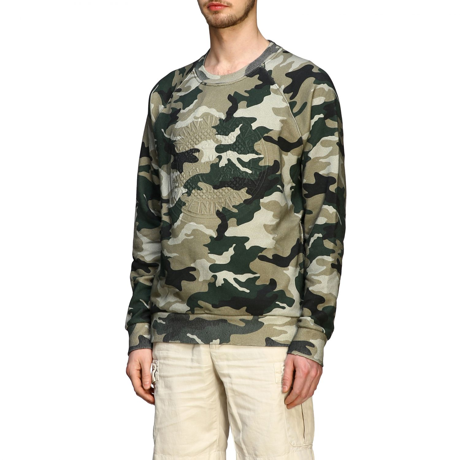 Sweatshirt Balmain: Balmain camouflage sweatshirt with flocked logo and zip military 4