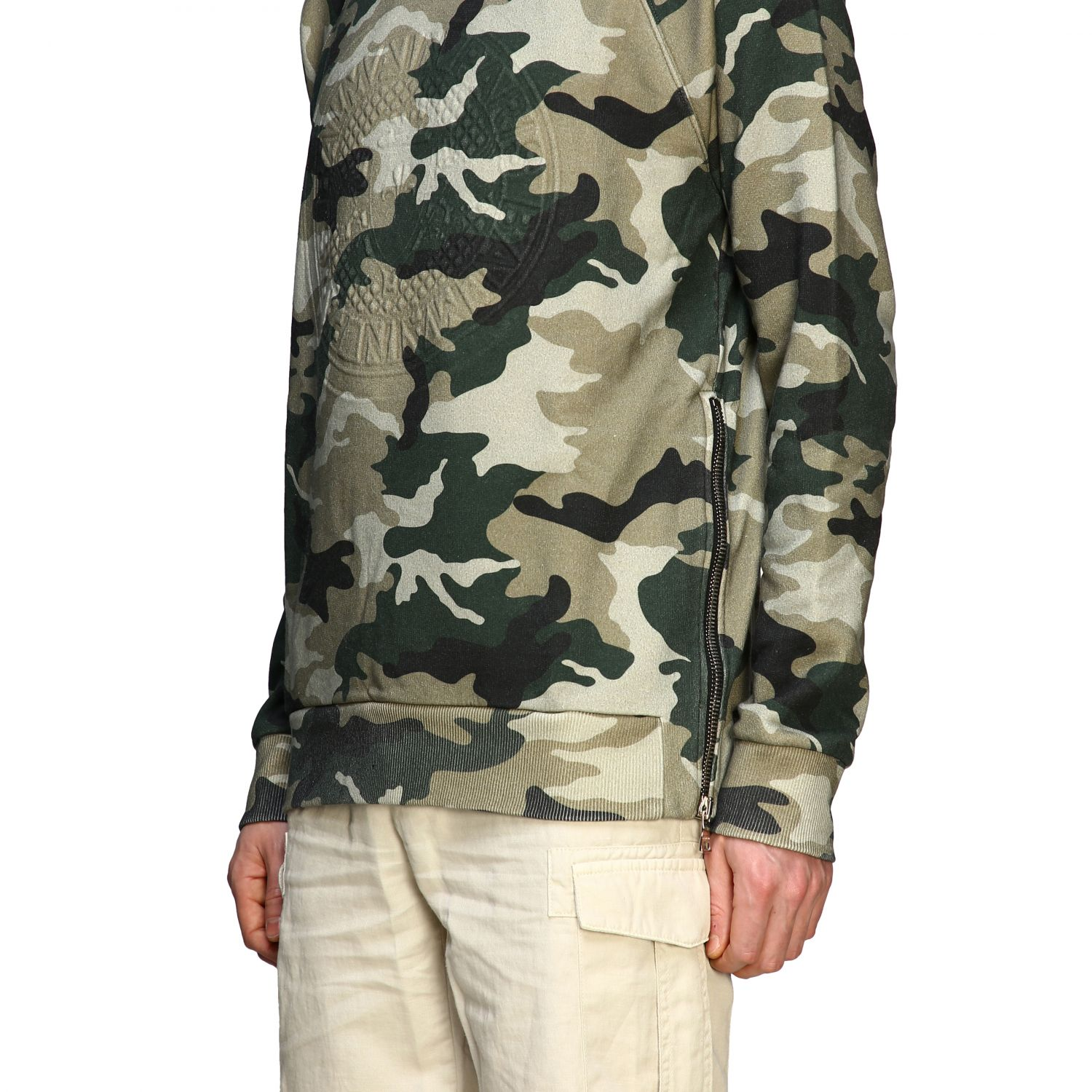 Sweatshirt Balmain: Balmain camouflage sweatshirt with flocked logo and zip military 5