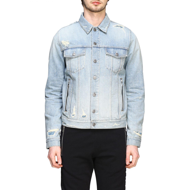 Veste Balmain: Veste en jean Balmain avec maxi logo en relief délavé 1