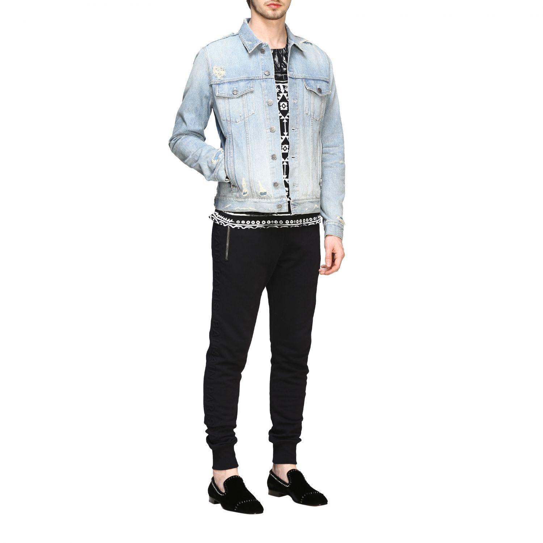 Veste Balmain: Veste en jean Balmain avec maxi logo en relief délavé 2