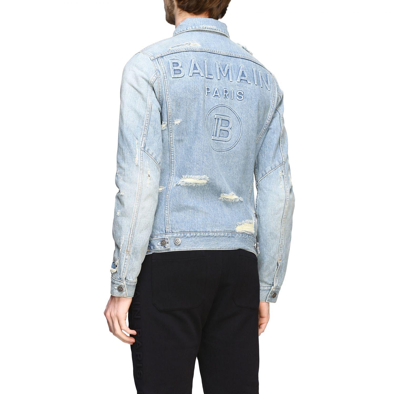 Veste Balmain: Veste en jean Balmain avec maxi logo en relief délavé 3