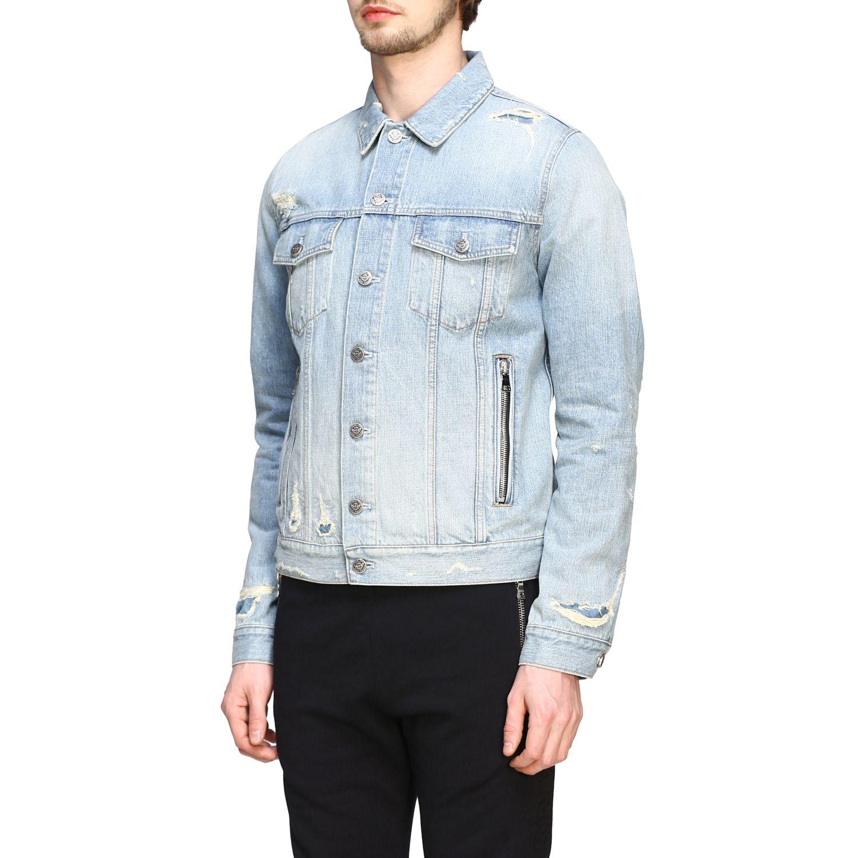 Veste Balmain: Veste en jean Balmain avec maxi logo en relief délavé 4