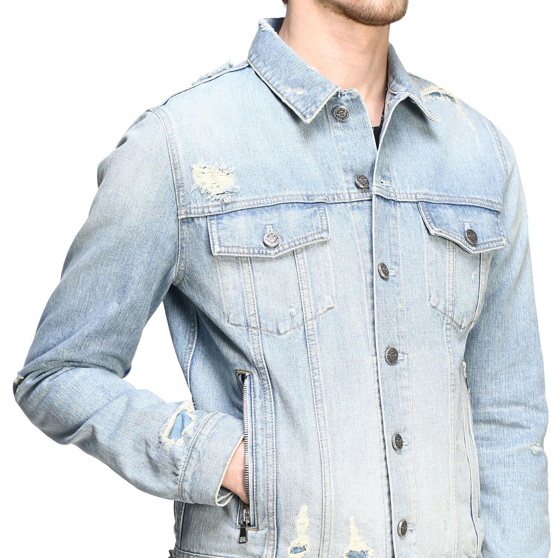 Veste Balmain: Veste en jean Balmain avec maxi logo en relief délavé 5