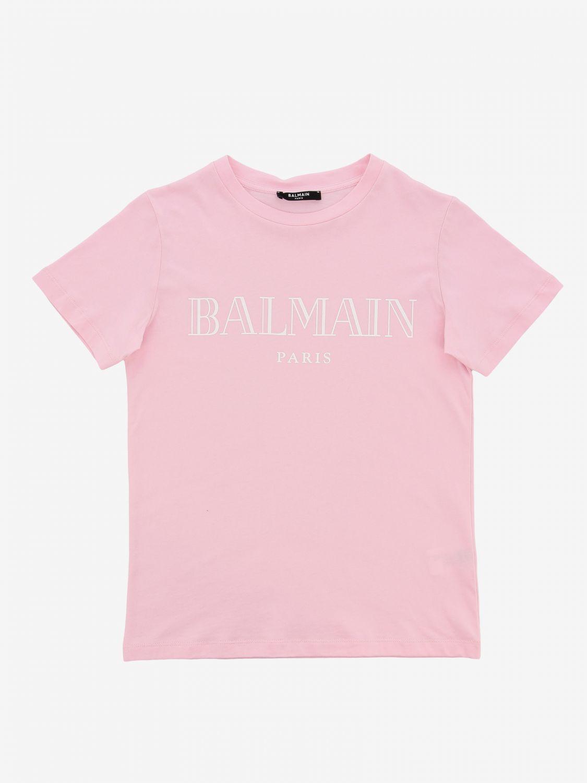 T-shirt Balmain: T-shirt Balmain a maniche corte con stampa logo rosa 1