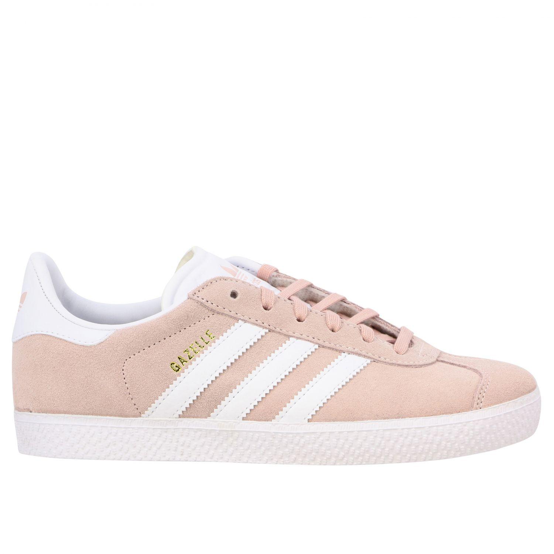 鞋履 Adidas Originals: Adidas Originals Gazelle J 绒面革真皮运动鞋 粉色 1