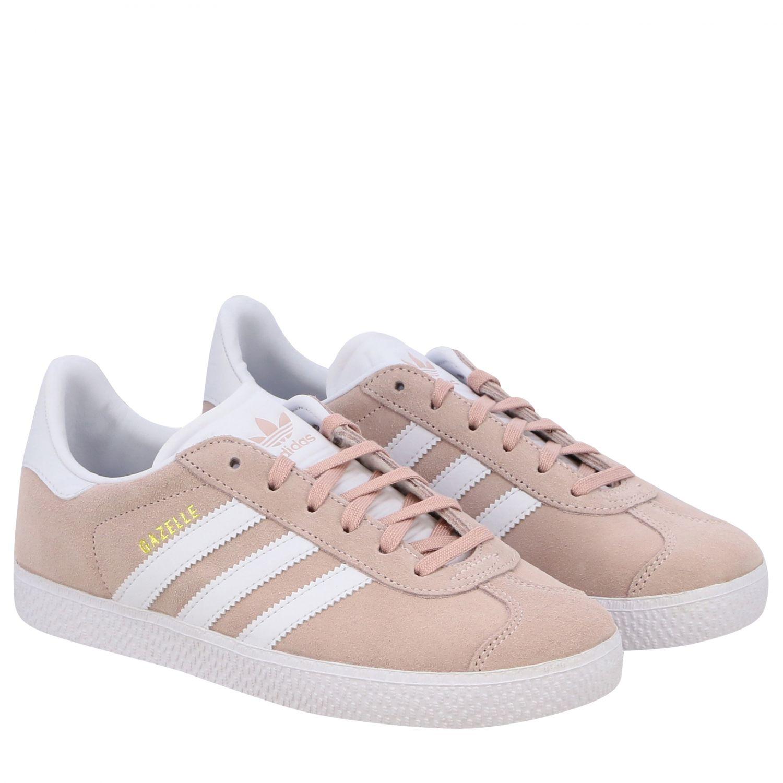 鞋履 Adidas Originals: Adidas Originals Gazelle J 绒面革真皮运动鞋 粉色 2