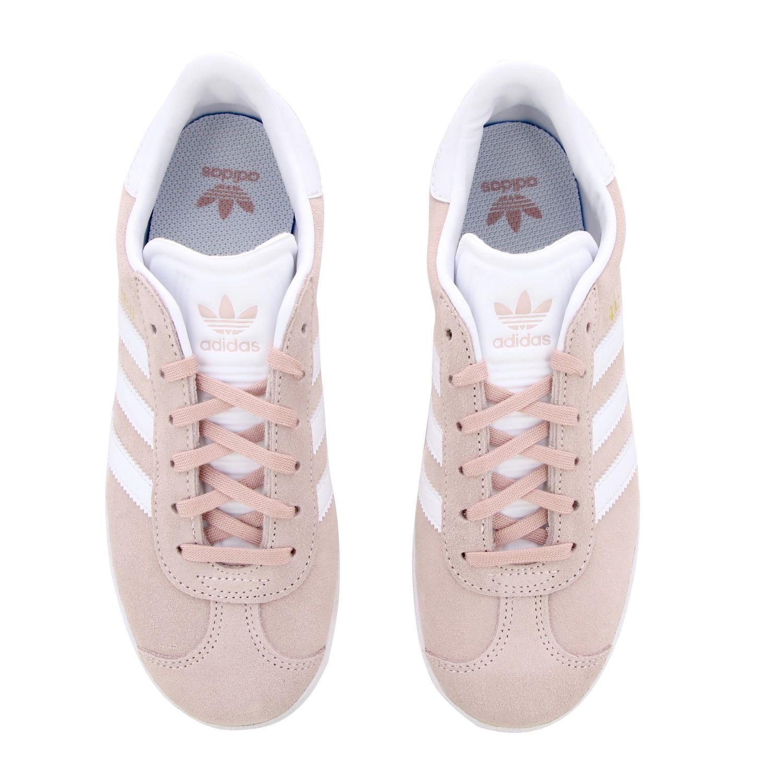 Baskets Gazelle J Adidas Originals en daim synthétique et cuir rose 3