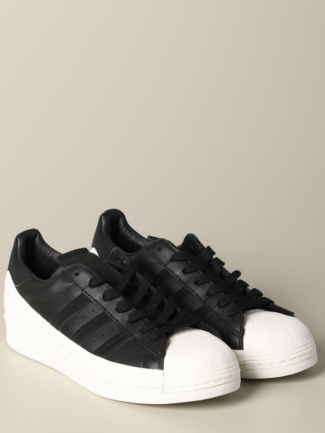 运动鞋 Adidas Originals: Adidas Originals Superstar logo 真皮运动鞋 黑色 2