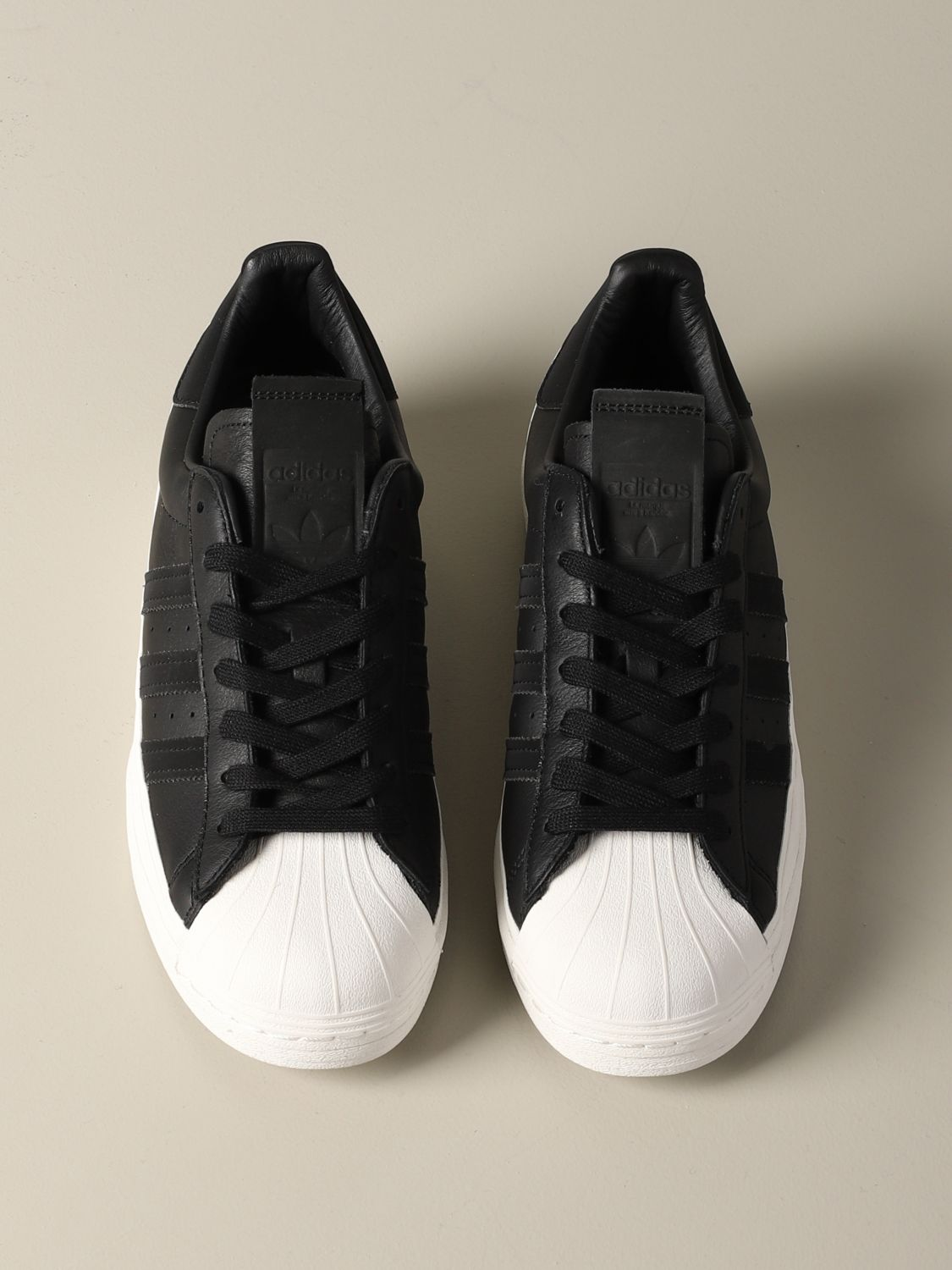 运动鞋 Adidas Originals: Adidas Originals Superstar logo 真皮运动鞋 黑色 3