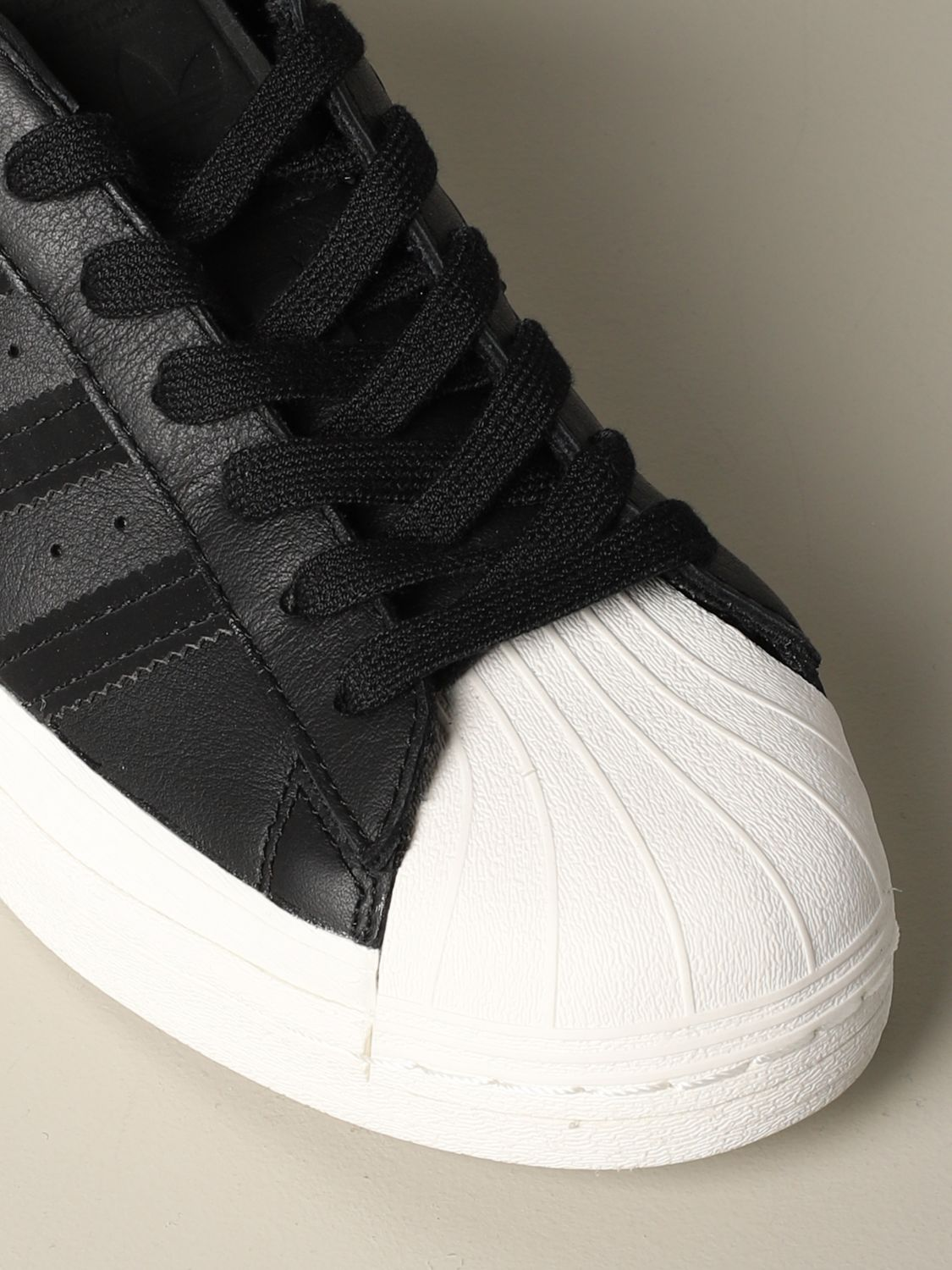运动鞋 Adidas Originals: Adidas Originals Superstar logo 真皮运动鞋 黑色 4