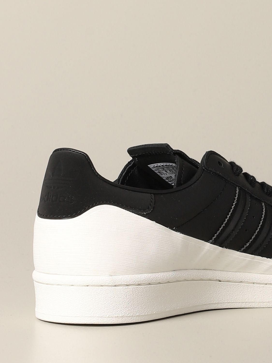 运动鞋 Adidas Originals: Adidas Originals Superstar logo 真皮运动鞋 黑色 5
