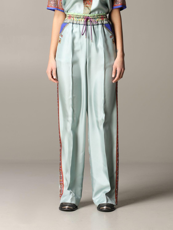 Pantalone Etro ampio in seta con stampa gioiello marocchino acqua 1