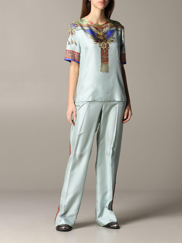 Pantalone Etro ampio in seta con stampa gioiello marocchino acqua 2
