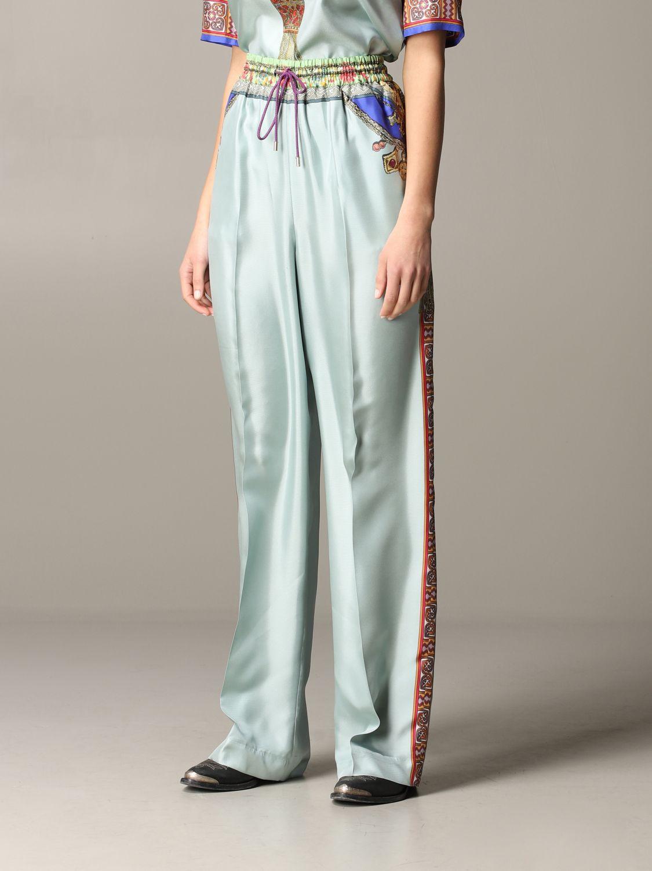 Pantalone Etro ampio in seta con stampa gioiello marocchino acqua 4
