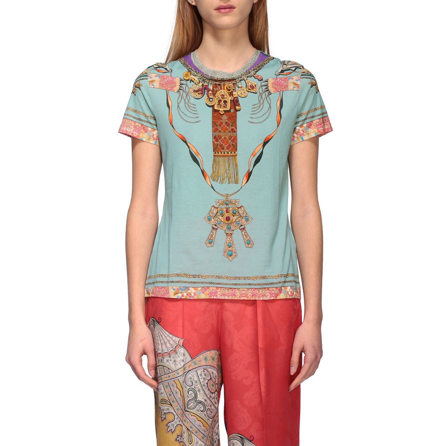 Short-sleeved Etro shirt with Moroccan jewel print water 1