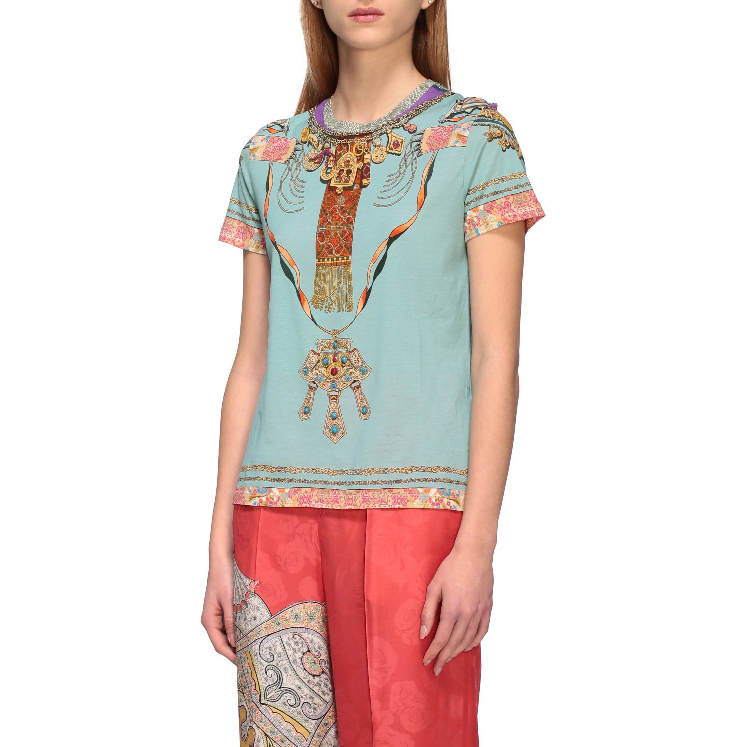 Short-sleeved Etro shirt with Moroccan jewel print water 4