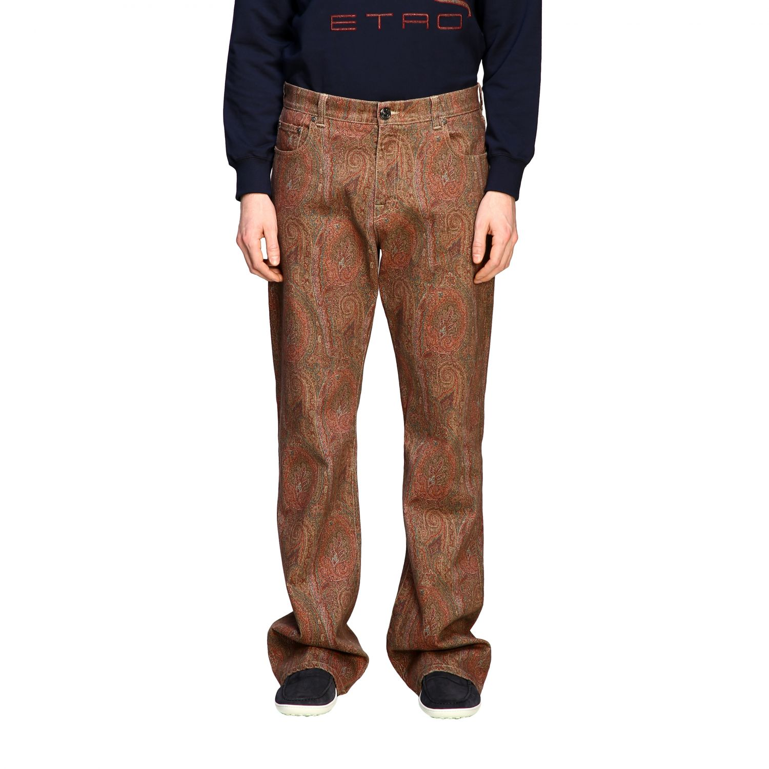 Jeans Etro: Etro flaire denim jeans with arnica print tobacco 1