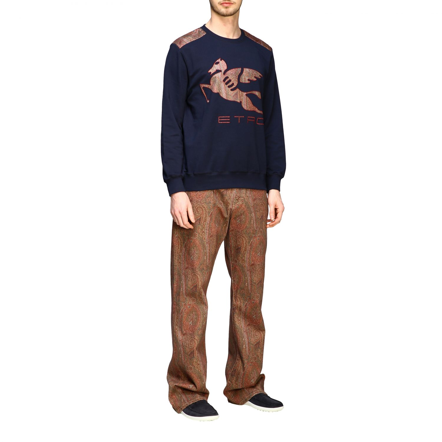 Jeans Etro: Etro flaire denim jeans with arnica print tobacco 2