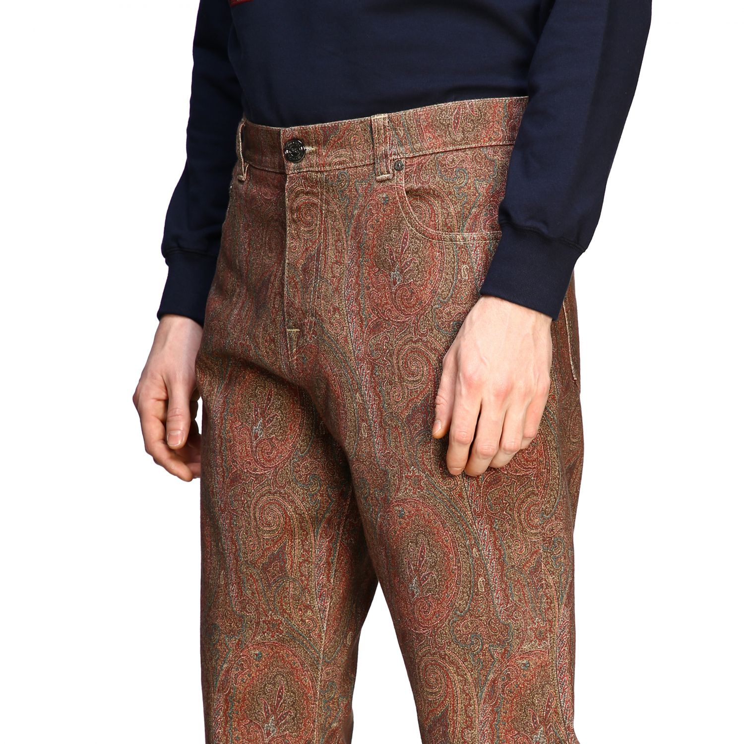 Jeans Etro: Etro flaire denim jeans with arnica print tobacco 5