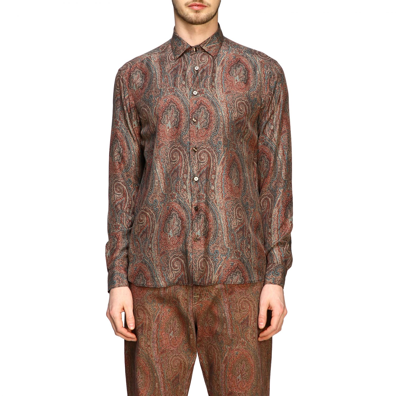 Shirt Etro: Etro silk shirt with arnica print and small collar tobacco 1