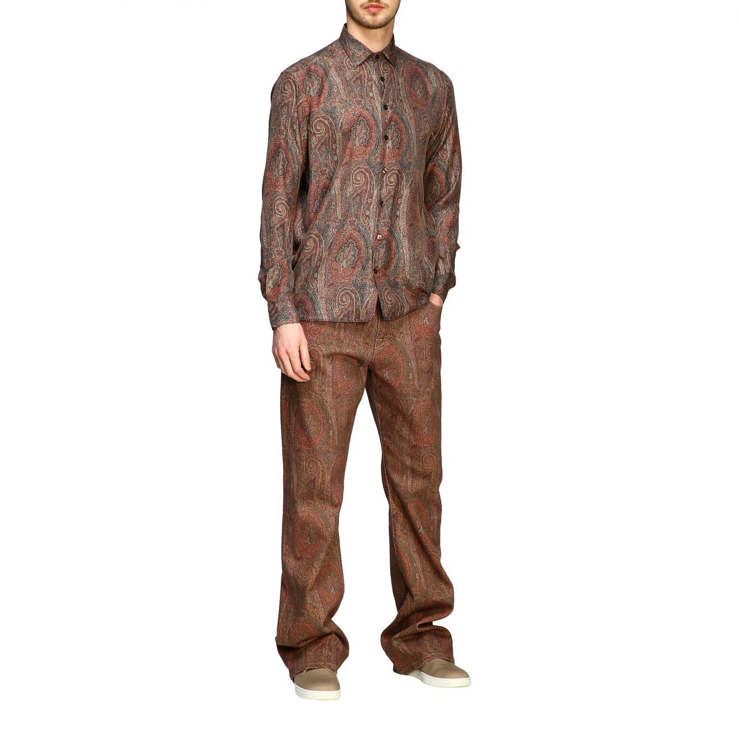 Shirt Etro: Etro silk shirt with arnica print and small collar tobacco 2