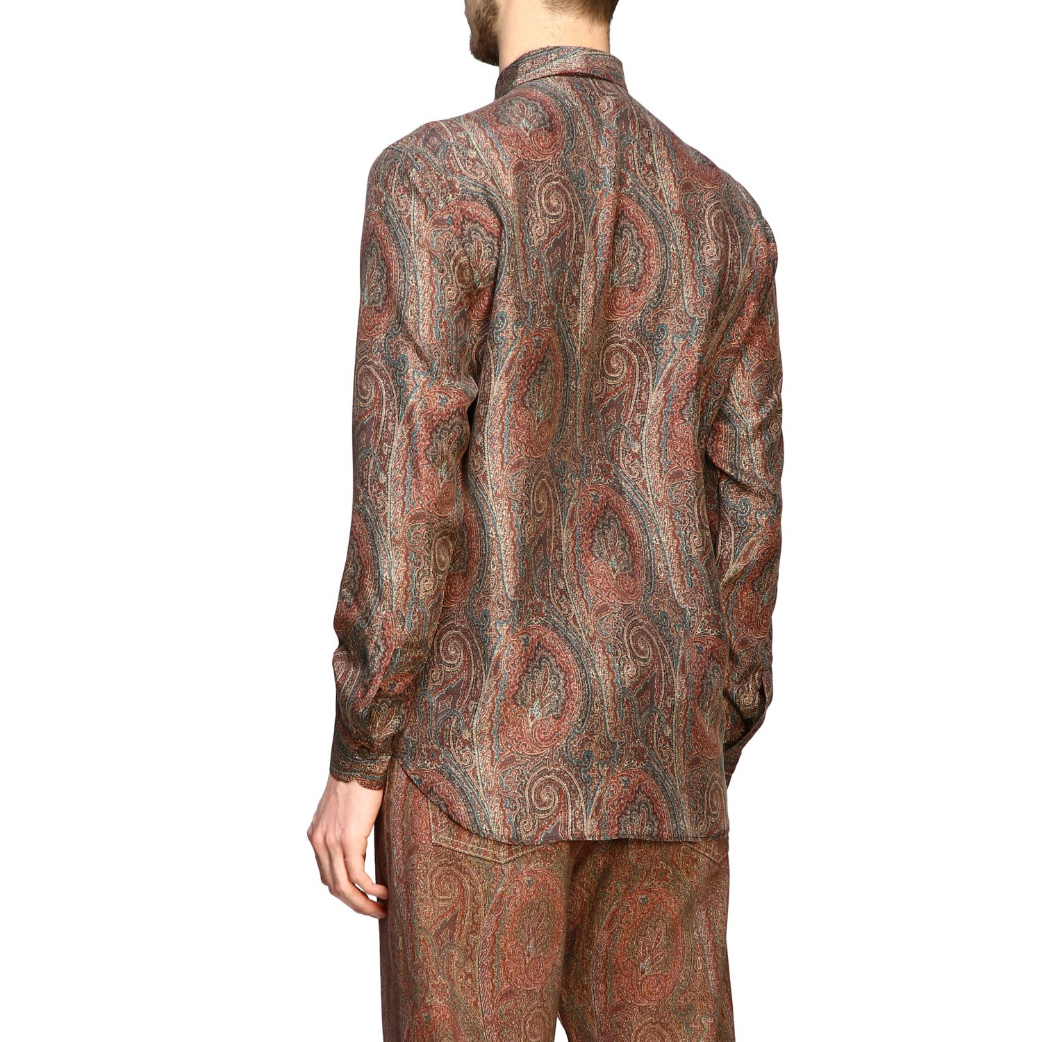 Shirt Etro: Etro silk shirt with arnica print and small collar tobacco 3