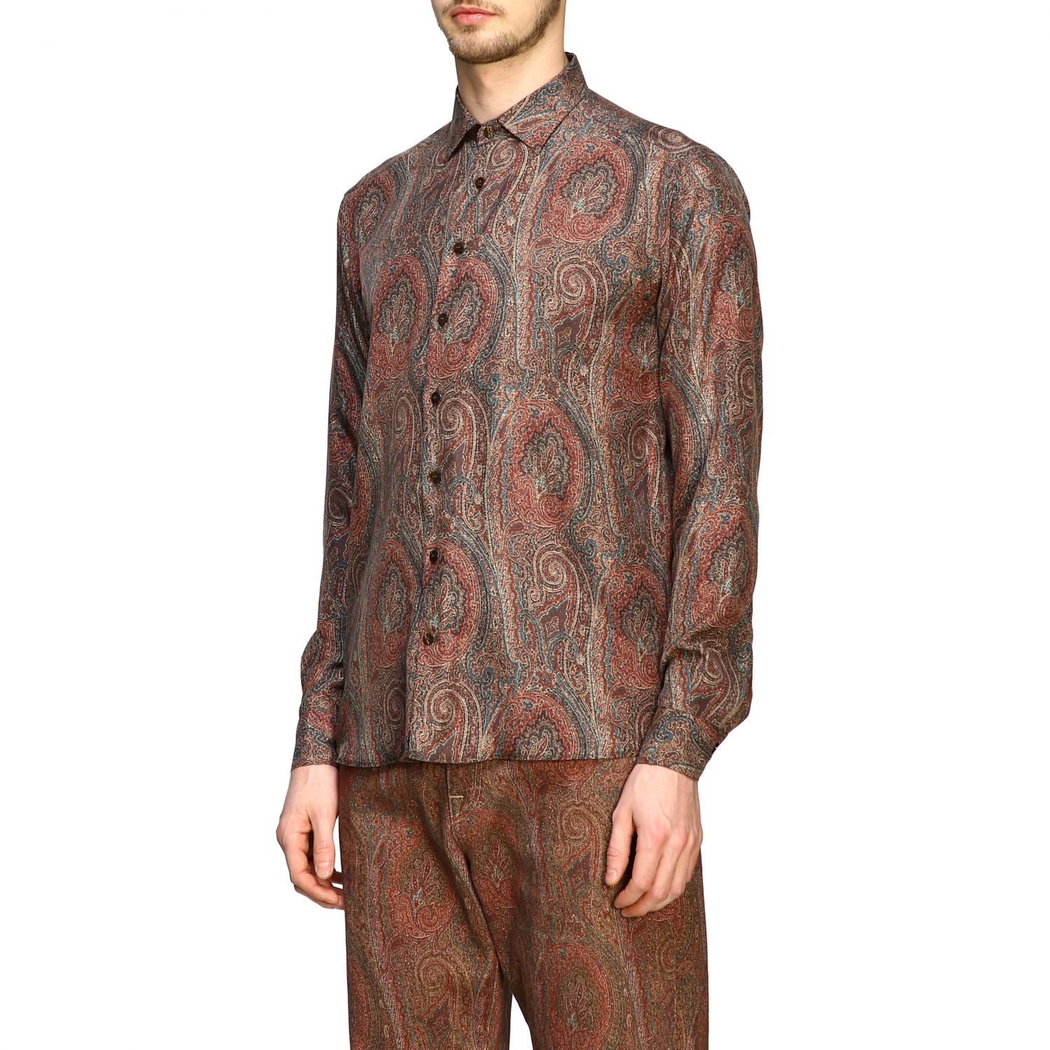 Shirt Etro: Etro silk shirt with arnica print and small collar tobacco 4