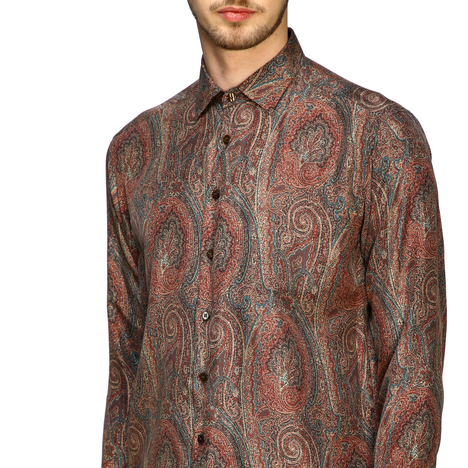 Shirt Etro: Etro silk shirt with arnica print and small collar tobacco 5