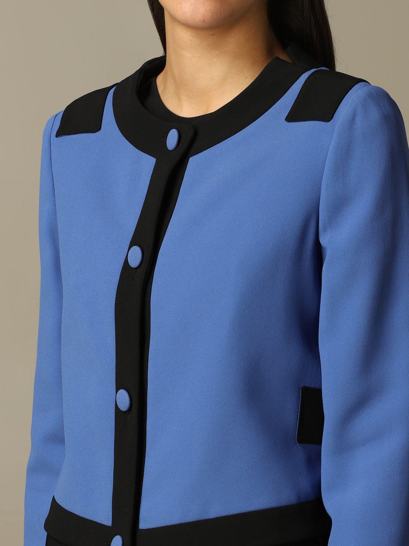 Emporio Armani two-tone crew-neck cardigan gnawed blue 3
