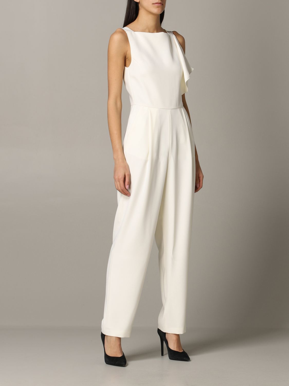 Emporio Armani suit in cady and satin white 1