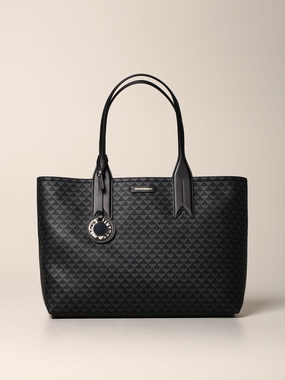 Emporio Armani Shopper aus Kunstleder mit Logo schwarz 1