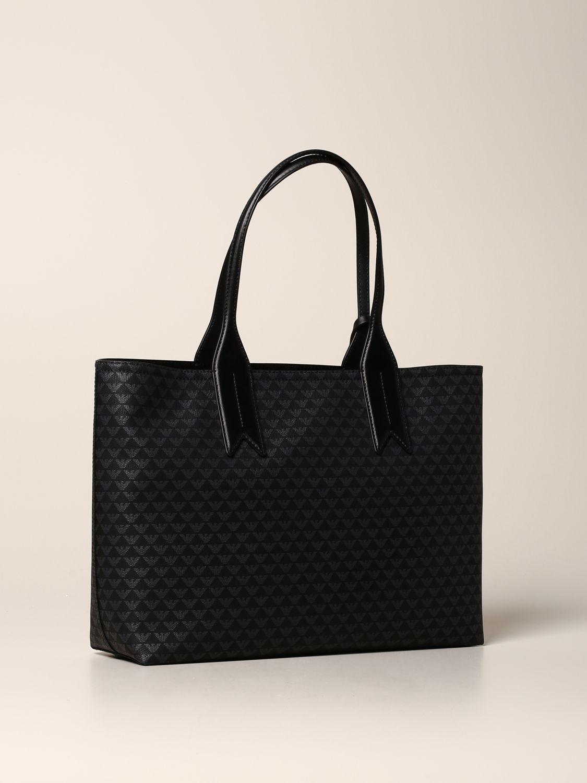 Emporio Armani Shopper aus Kunstleder mit Logo schwarz 2