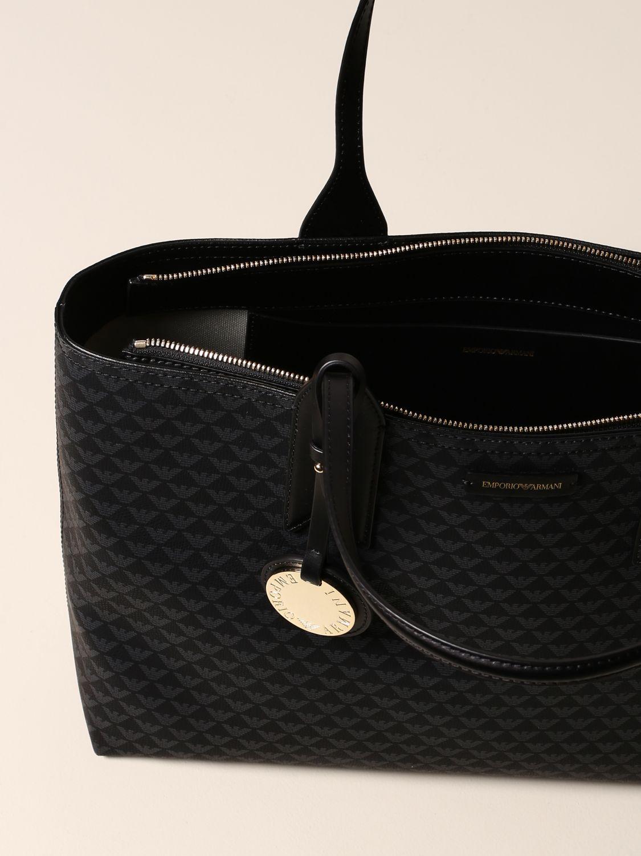 Emporio Armani Shopper aus Kunstleder mit Logo schwarz 4
