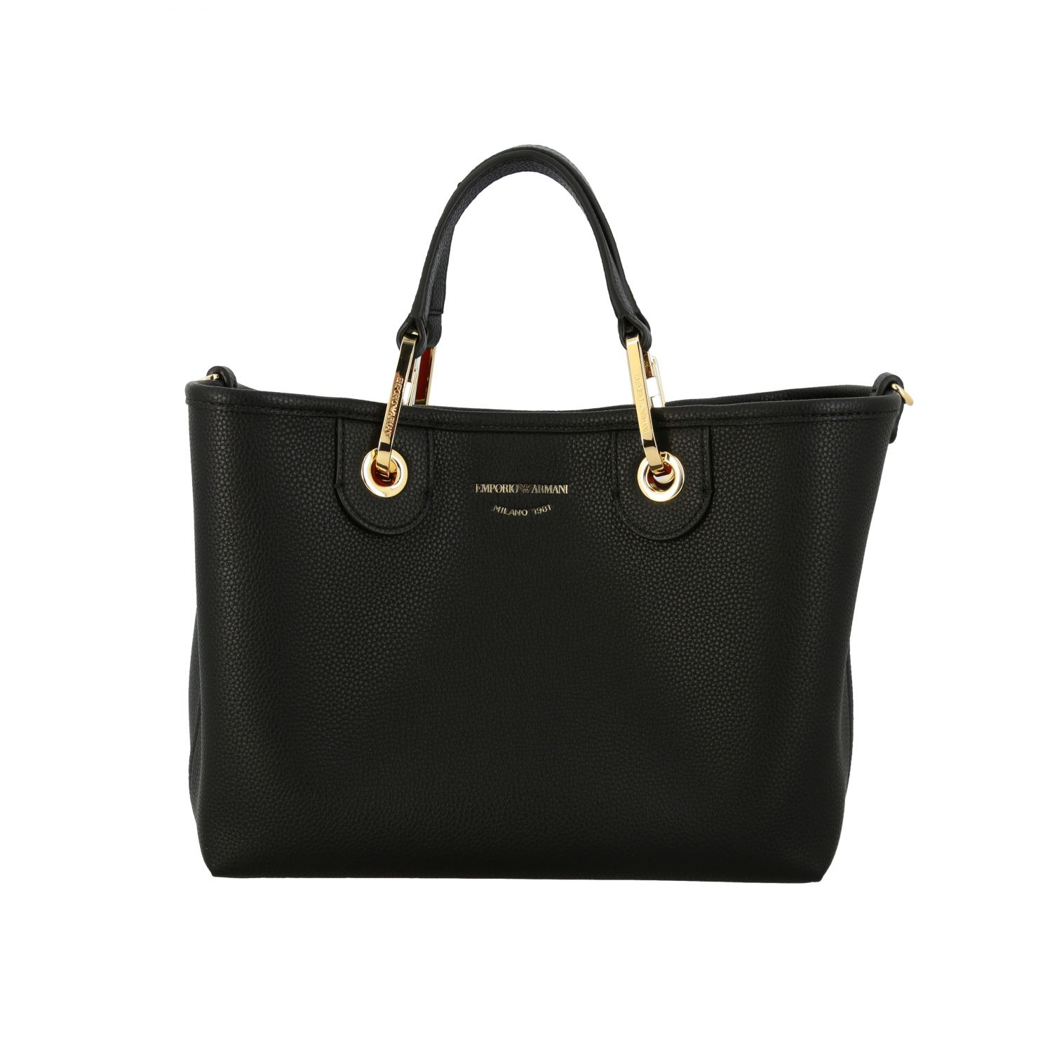 Emporio Armani shopping bag in synthetic leather black 1