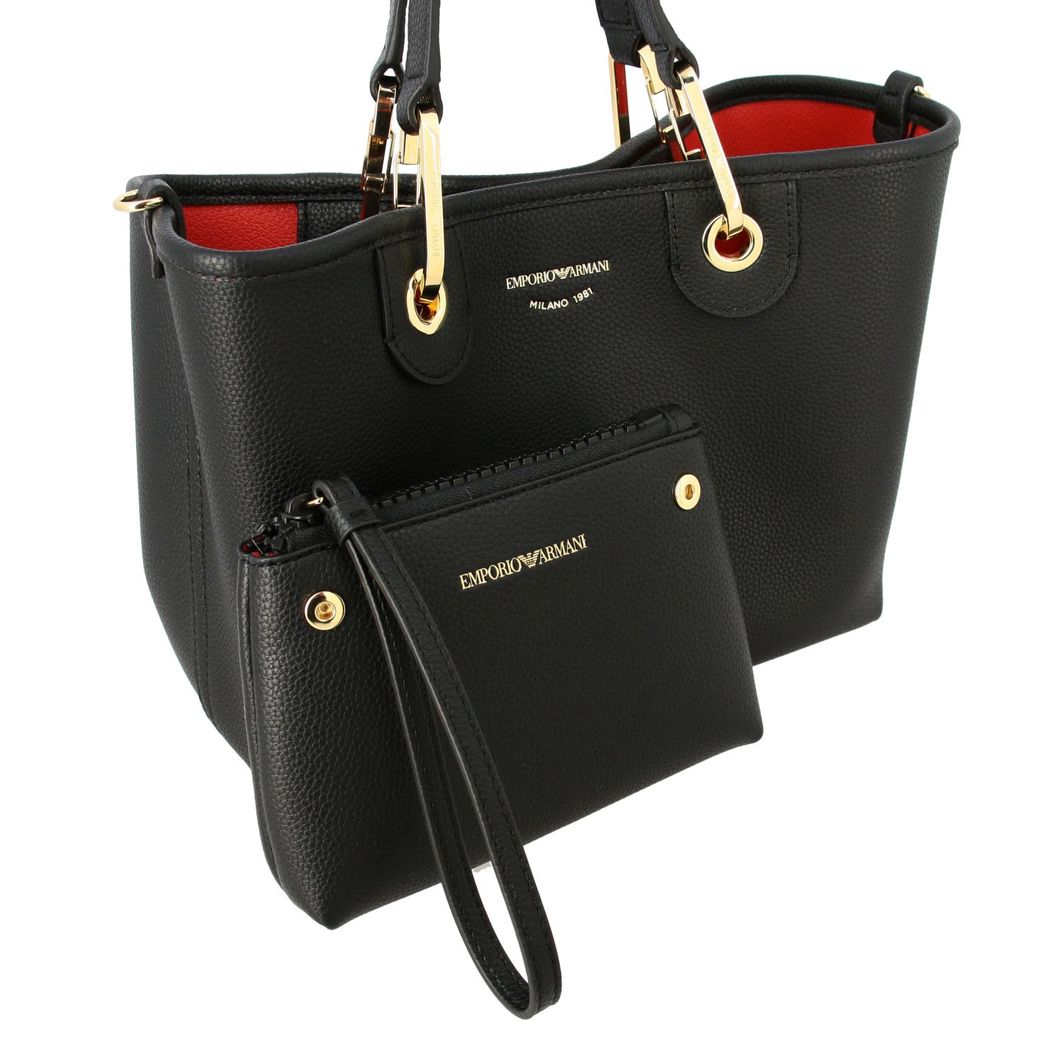 Emporio Armani shopping bag in synthetic leather black 4