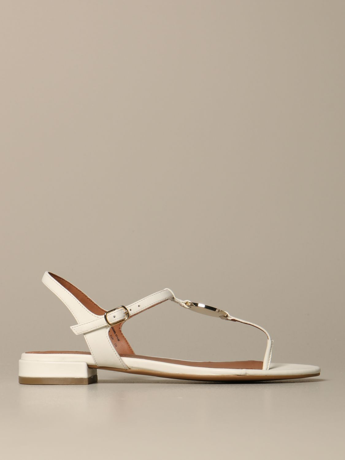 Emporio Armani leather sandal with plaque white 1