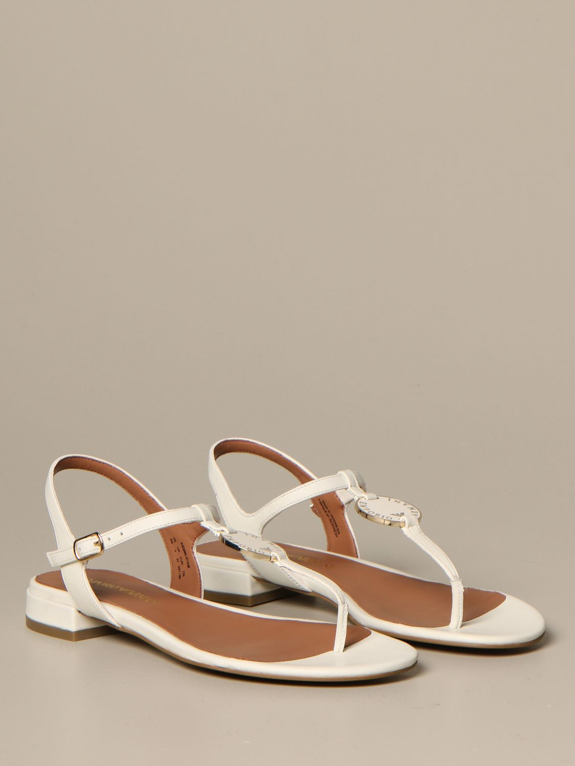 Emporio Armani leather sandal with plaque white 2